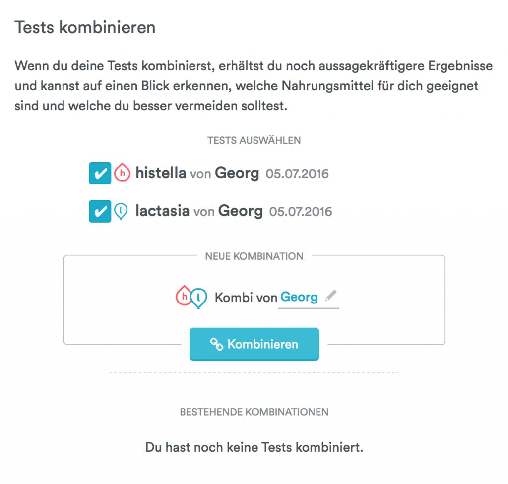 Wähle mindestens zwei verschiedene Tests aus, um sie zu kombinieren.